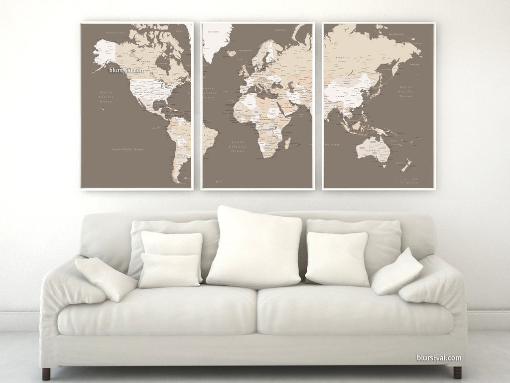 Large printable world map with cities, as a set of three panels, earth tones - For personal use only