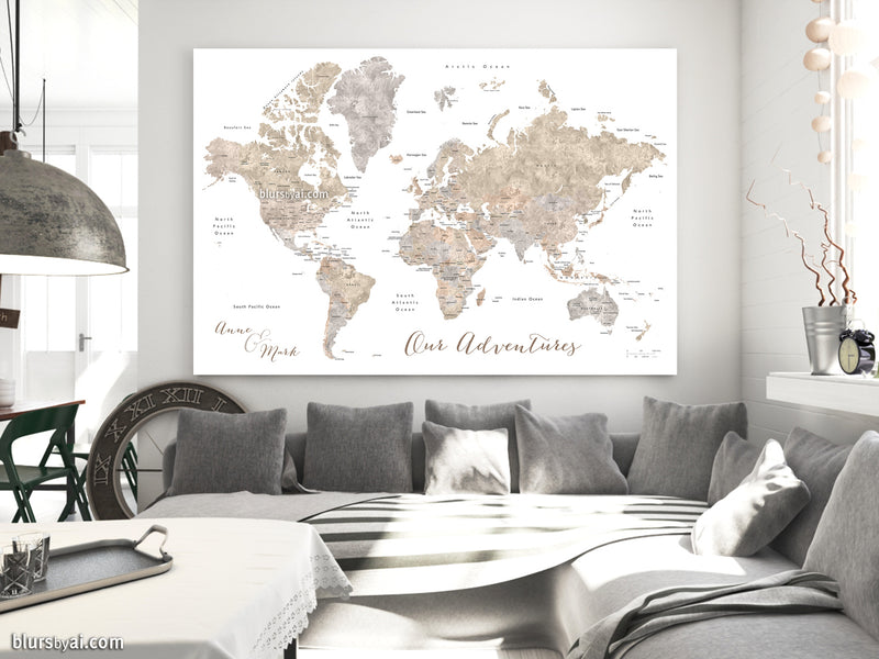 "Custom world map with countries & states, canvas print or push pin map. ""Abey"""