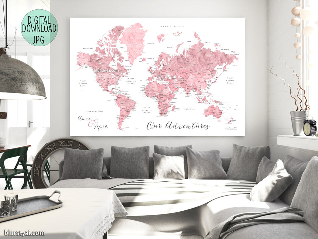 "Custom quote - pink watercolor printable world map with cities, capitals, countries, US States... labeled. ""Peony"""