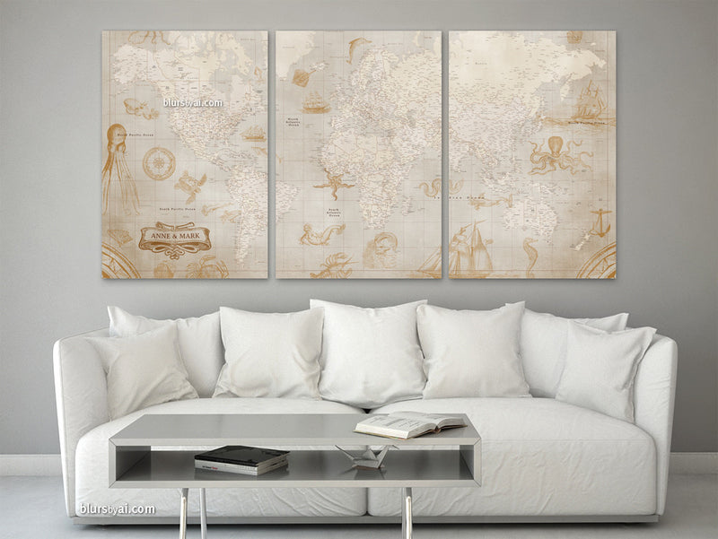 Personalized, large and detailed world map canvas print or push pin map in the style of those antique sepia world maps with sea monsters and sali ships.