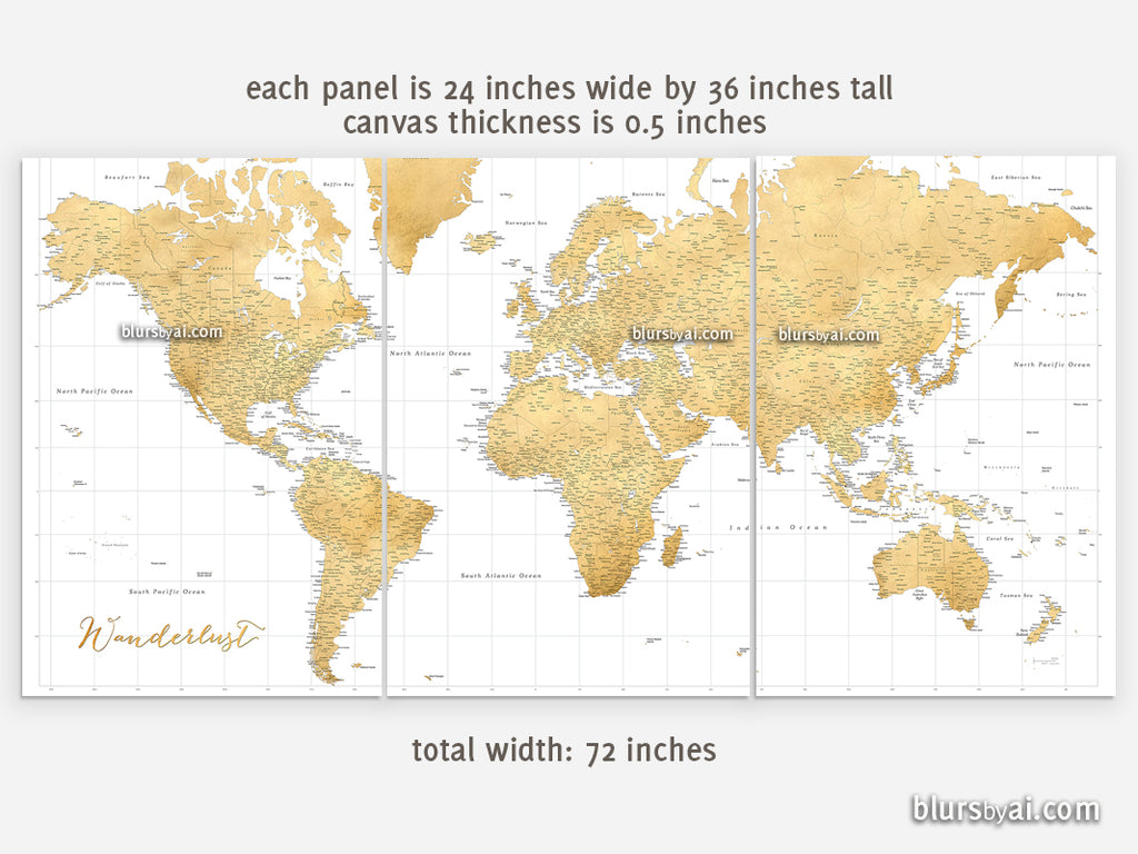 Custom set of 3 canvas prints or push pin maps - Multi panel, highly  detailed, gold world map with cities
