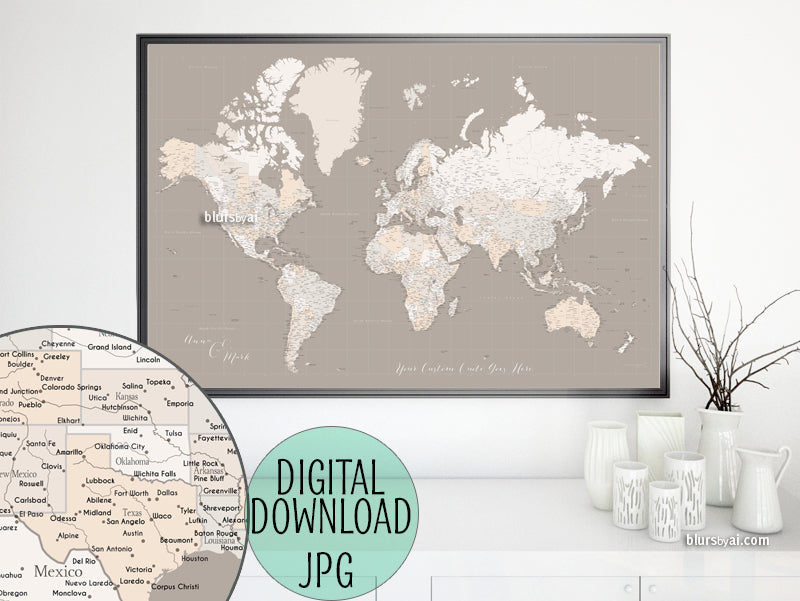 "Customized PRINTABLE highly detailed world map with cities. ""Light earth tones"""