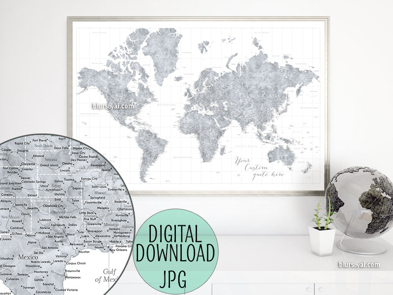 "Customized PRINTABLE highly detailed world map with cities. ""Jimmy"""