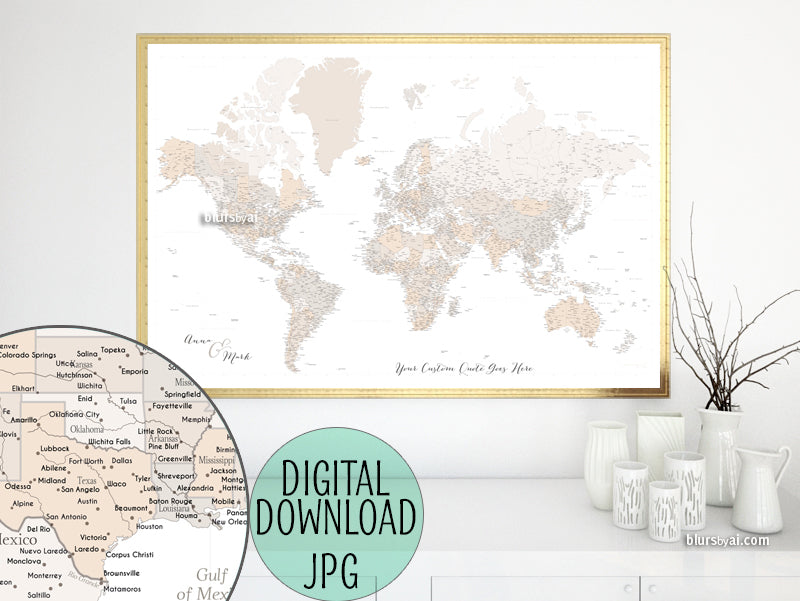 "Customized PRINTABLE highly detailed world map with cities. ""Belinda"""