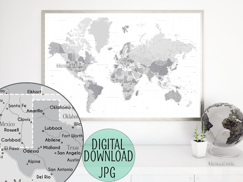"Customized PRINTABLE highly detailed world map with cities. ""Grayscale"""