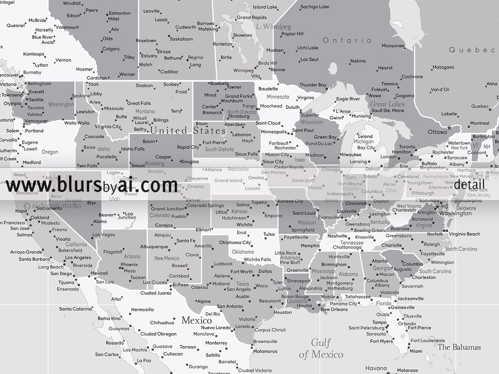 "Grayscale multi panel world map canvas print or push pin map, highly detailed world map with cities. ""Cristina"""