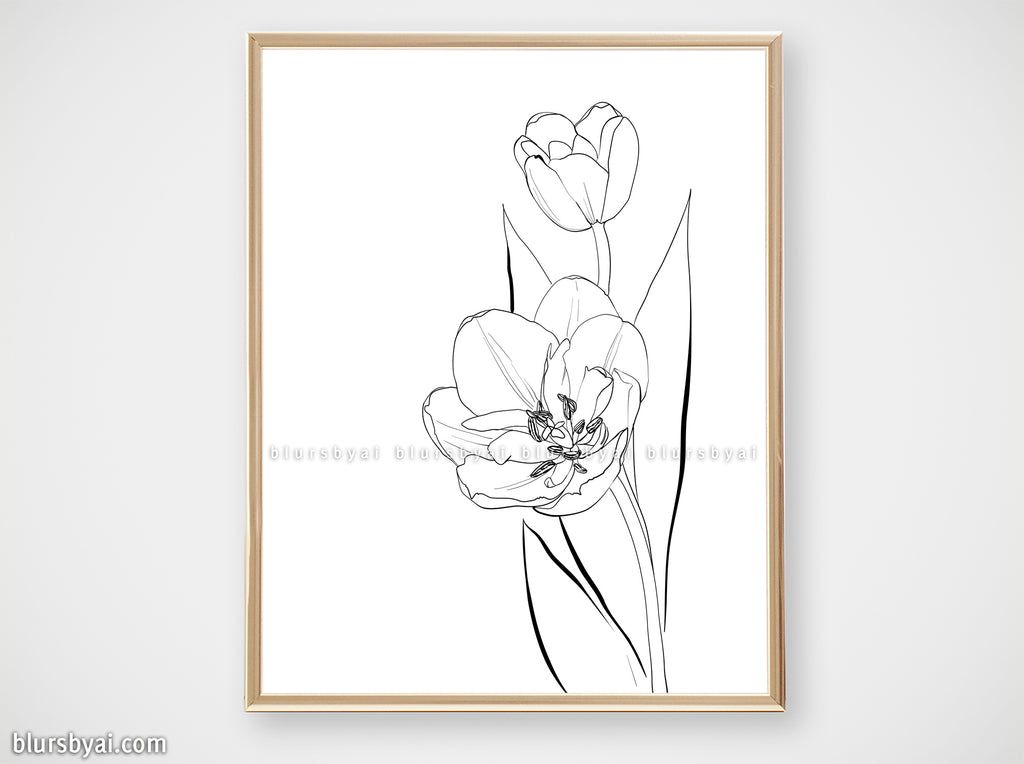 Printable line art: tulips