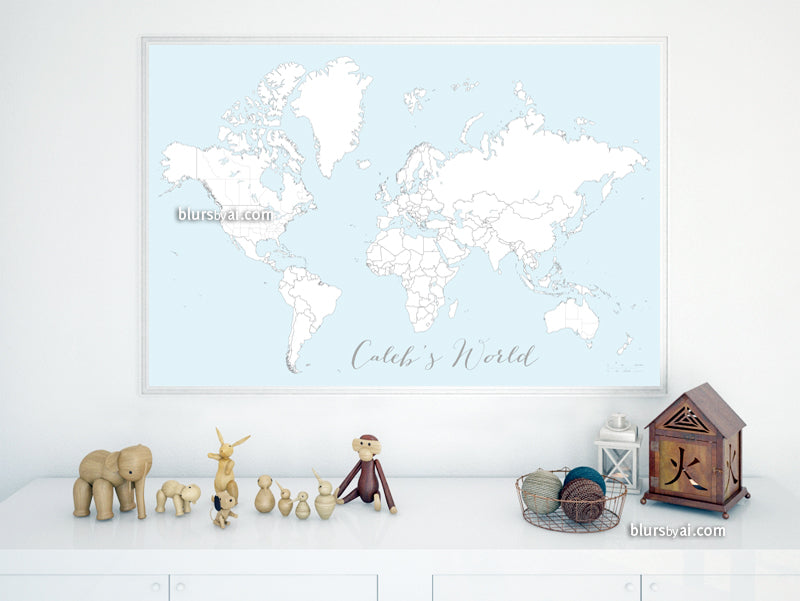 "Custom map print: blue world map with countries & states outlined for coloring. ""Ariadne"""