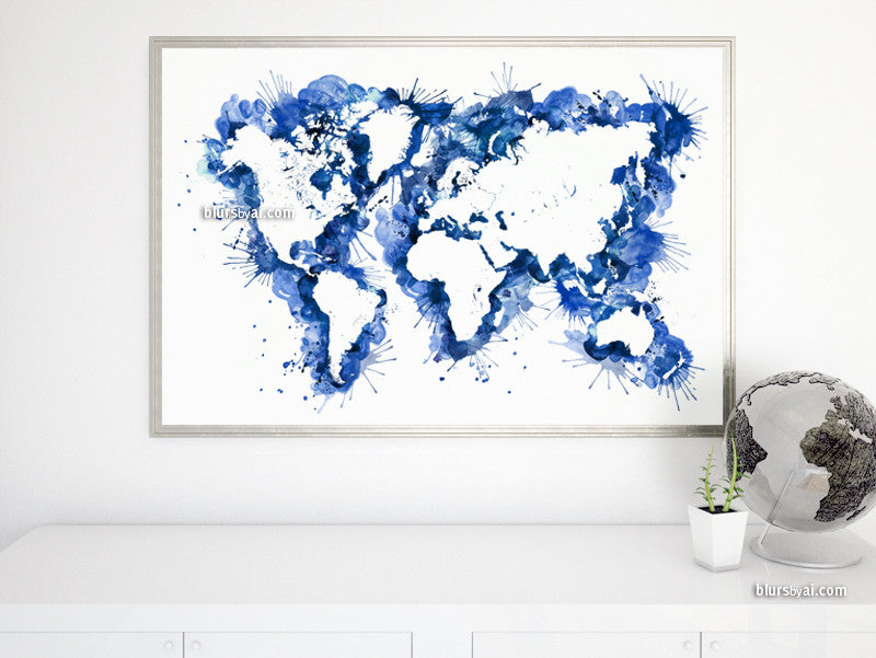 Custom quote, color and size world map in distressed watercolor strokes