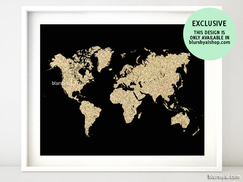 Black and gold glitter world map printable art, no quote
