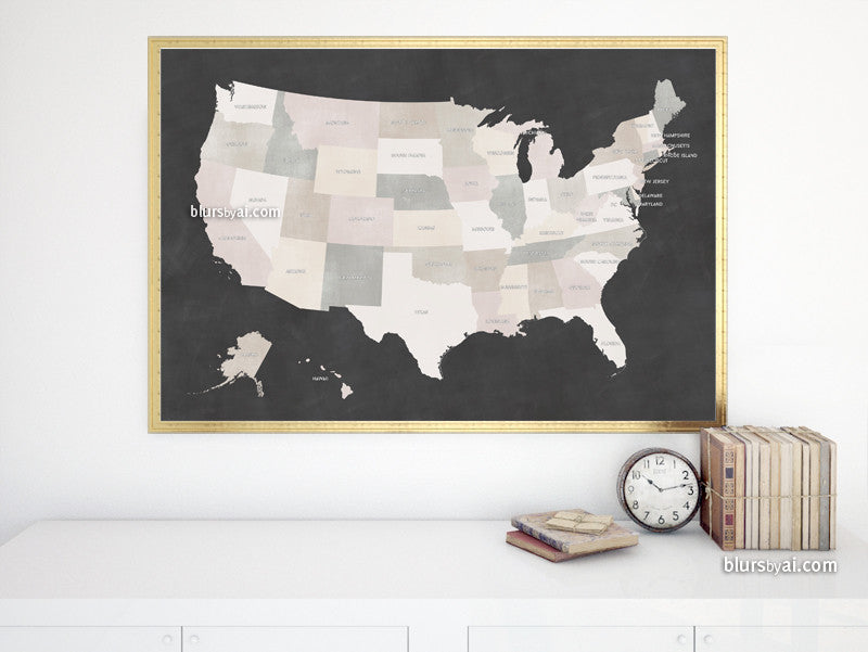 Chalkboard US printable map with states labelled, large 36x24""