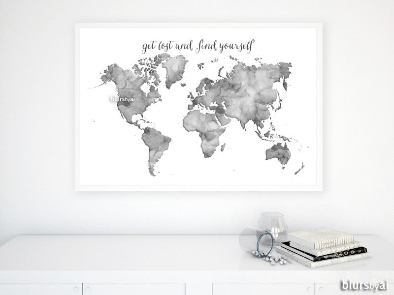 Grayscale watercolor printable world map, get lost and find yourself, large 36x24""