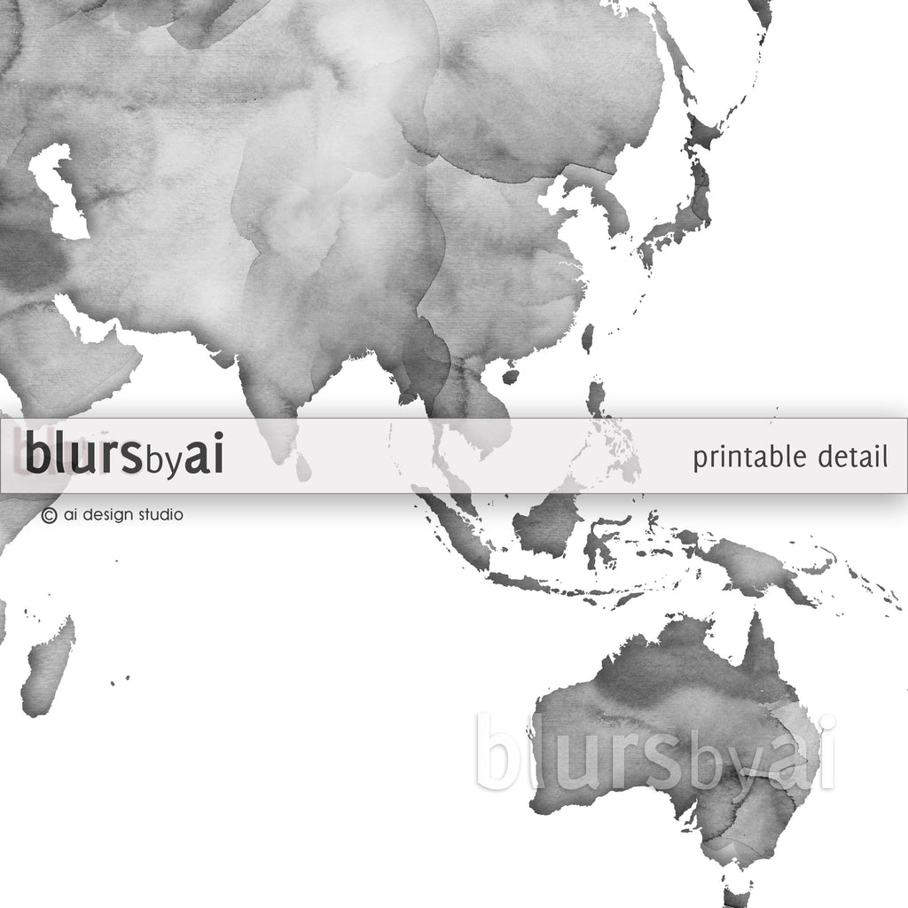 Grayscale watercolor printable world map, no quote, large 36x24""