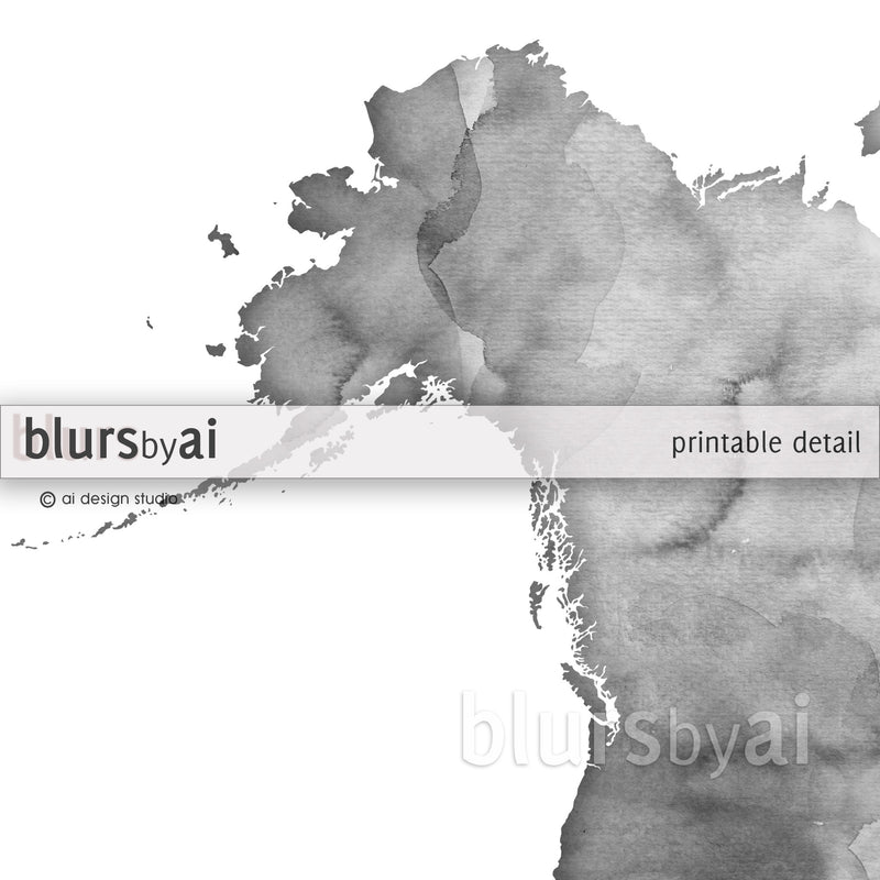 "Grayscale watercolor printable world map, no quote, large 36x24"" - For personal use only"