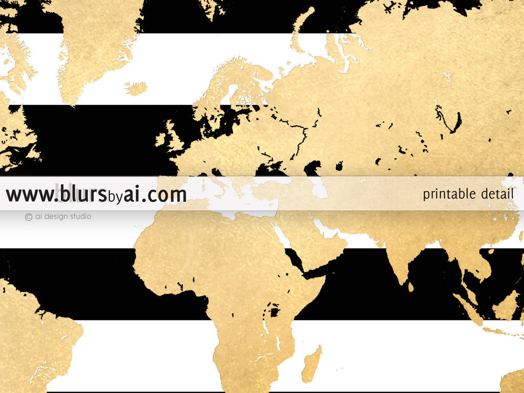 Gold Foil World Map Printable With Black And White Stripes No Quote - Black and gold world map