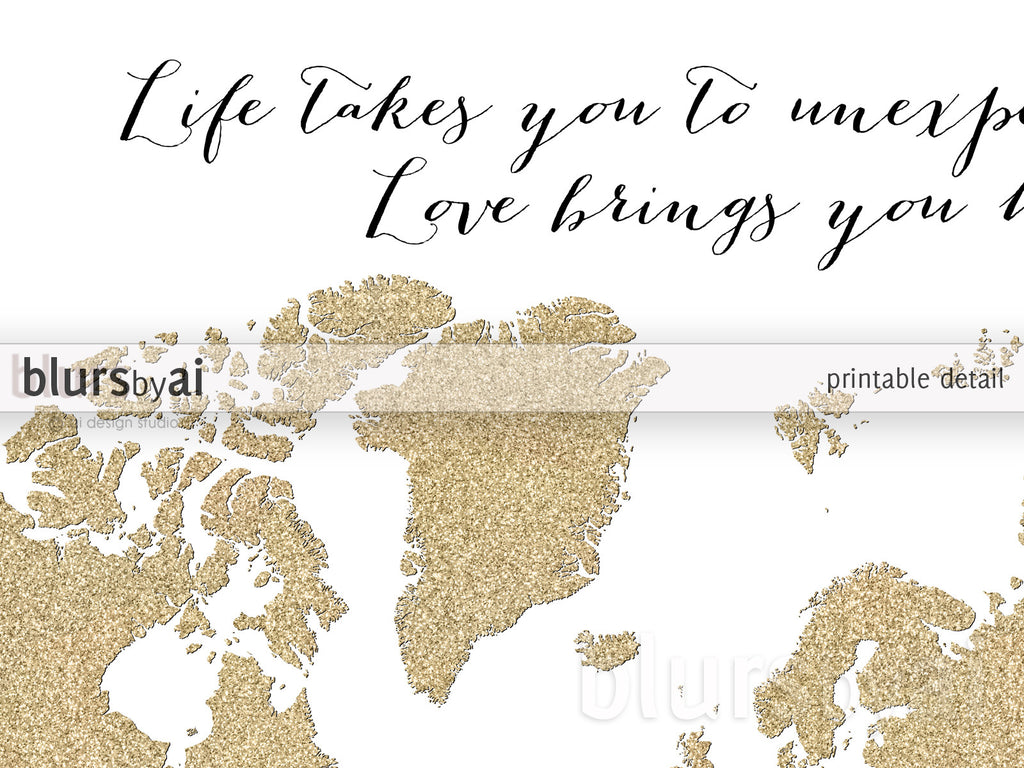 Custom Quote  Gold Glitter World Map Available In Sizes From 7x5