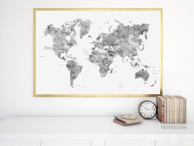 "Gray watercolor printable world map with country names, large 36x24"" - For personal use only"