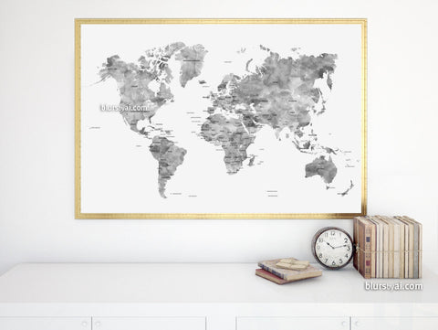 Gray watercolor printable world map with country names, large 36x24""
