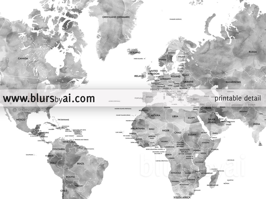Gray watercolor printable world map with country names large 36x24 gray watercolor printable world map with country names large 36x24 sciox Image collections