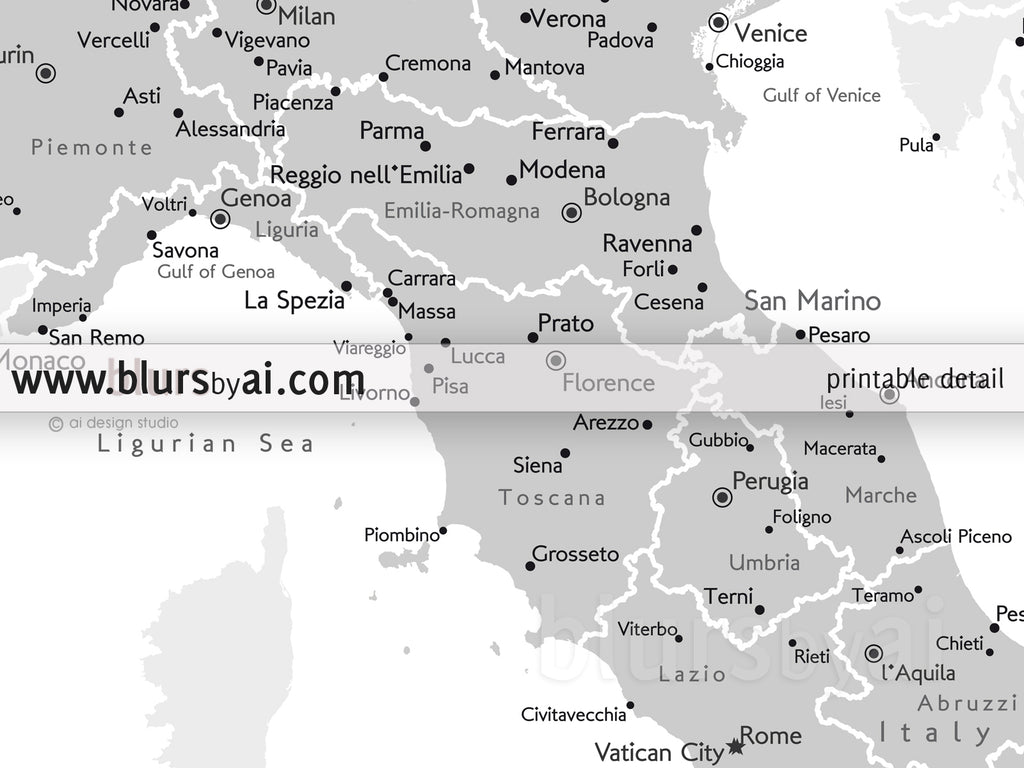 Custom Map Of Italy With Cities In Grayscale Blursbyai