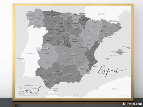 Printable map of Spain, with cities and provinces, in light grayscale