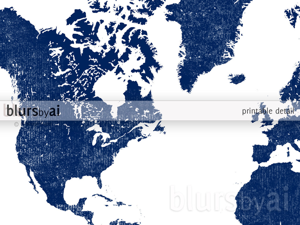 Printable personalized world map with countries in true navy blue custom quote printable world map in navy blue and distressed texture gumiabroncs Gallery