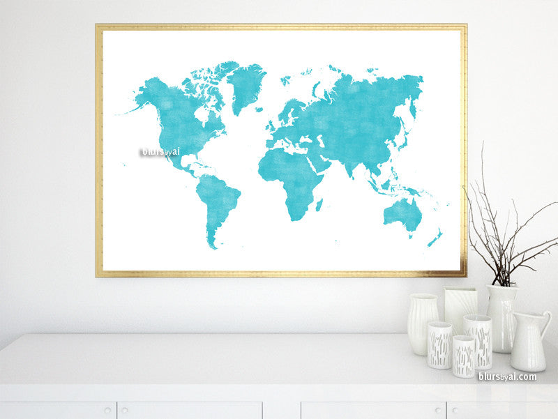 Printable world map poster in light teal and distressed vintage style,  large 36x24\