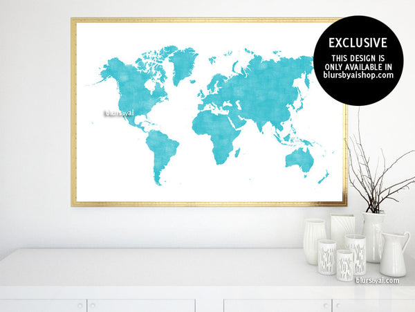 Printable world map poster in light teal and distressed vintage style, large 36x24""
