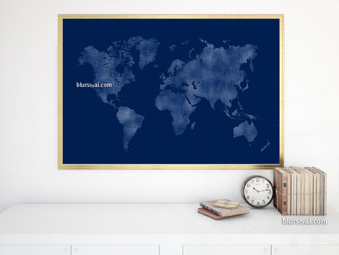 Printable navy blue world map in distressed vintage texture, large 36x24""