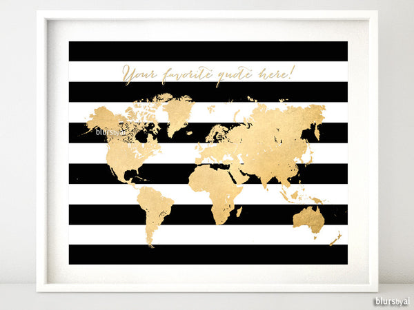 image about Silhouette Printable Gold Foil named Personalized estimate - Gold foil map silhouette inside of black and white striped historical past, dimensions in opposition to 7x5\