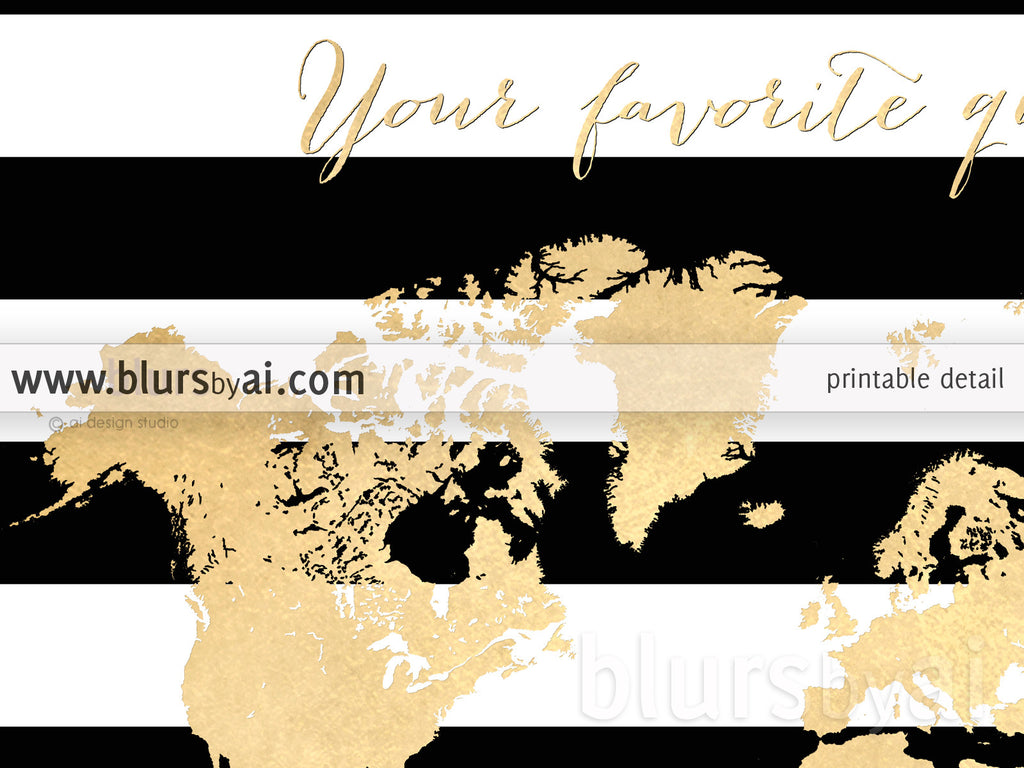"Custom quote - Gold foil map silhouette in black and white striped background, sizes from 7x5"" to 60x40"""