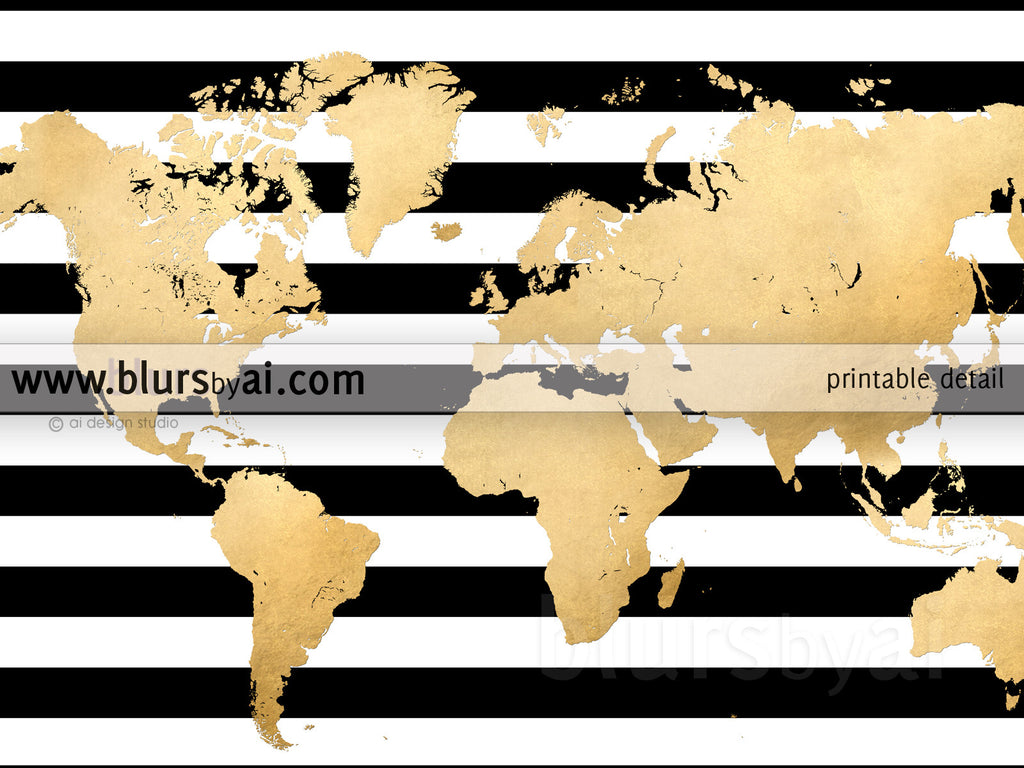 Large Printable Gold Foil World Map With Black And White Stripes - Black and gold world map