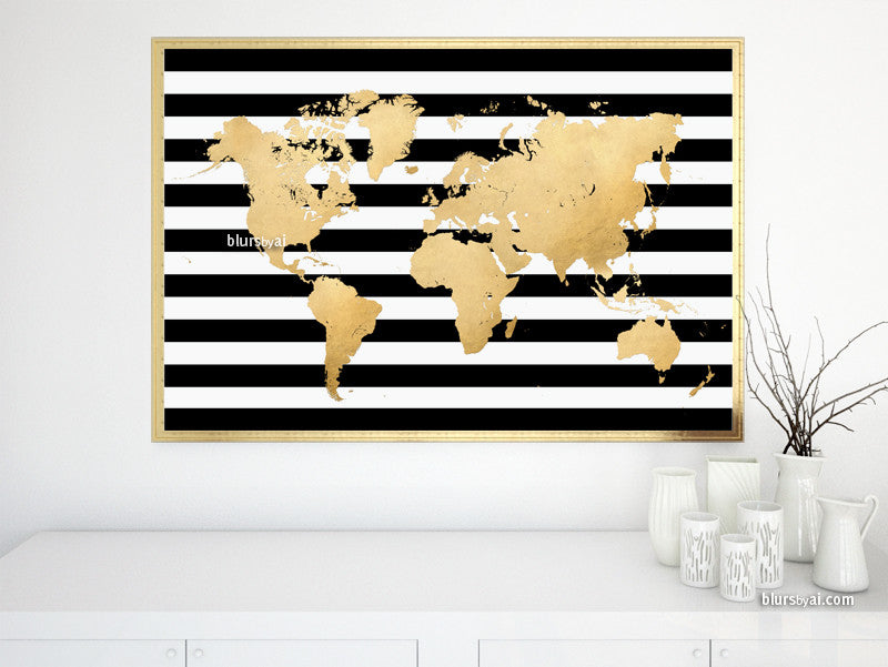 Large printable gold foil world map with black and white stripes - For personal use only