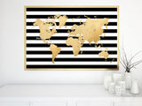 Custom quote, color and size printable world map in faux gold foil effect