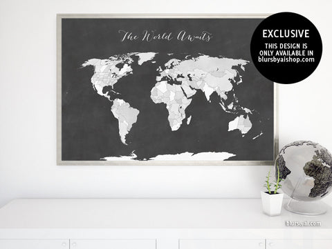 Printable world map in chalkboard style, The world awaits, large 36x24""