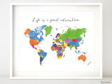 Custom quote, color and size world map with countries named in distressed texture