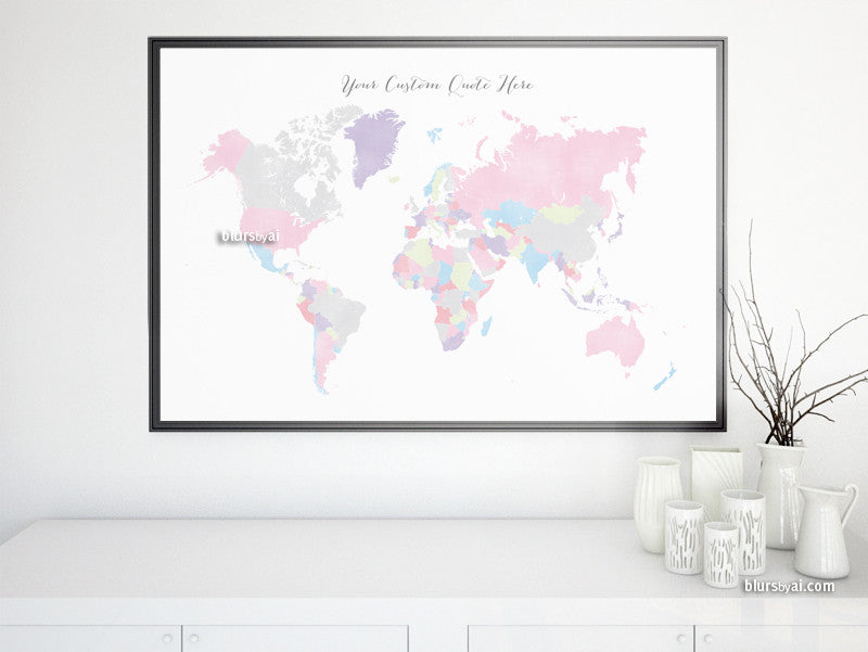 Custom quote - printable world map in pastels and distressed vintage texture. Color combo: Eloise