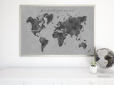 Custom quote - printable gray world map with countries in distressed texture. Color combo: Zayden