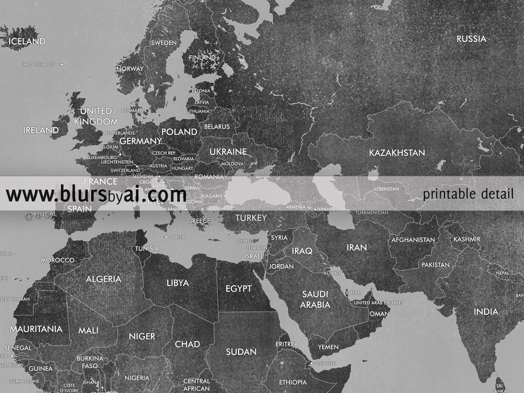 Personalized world map printable gray world map with countries in color combo custom quote printable gray world map with countries in distressed texture gumiabroncs Gallery