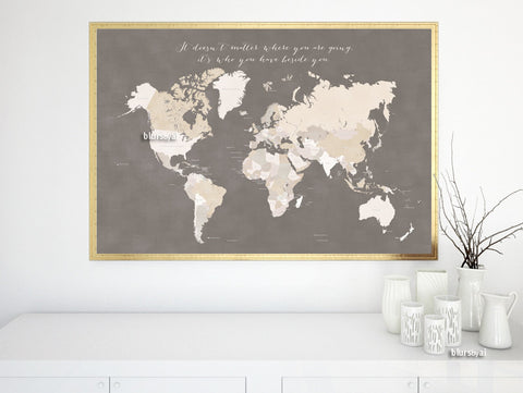 Printable world map with countries, distressed texture in earth tones and travel quote, large 36x24""