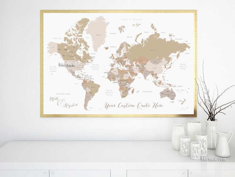 picture regarding Printable World Map With Countries Labeled called Customized quotation, colour and dimensions, printable entire world map with nations around the world, US Says, Canadian provinces, Oceans categorised.