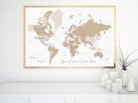 Custom quote, color and size, printable world map with countries, US States, Canadian provinces, Oceans... labeled.