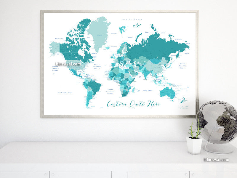 Custom quote printable world map with cities, capitals, countries, US States... labeled. Color combination: Angels