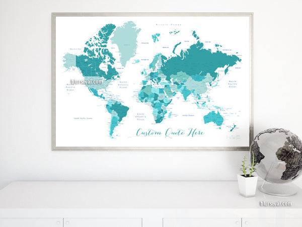 Custom Quote Printable World Map With Cities Capitals Countries - Cute-us-map