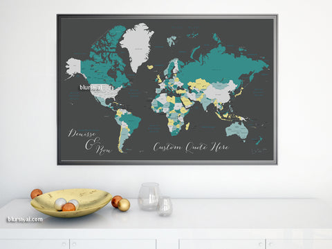 "Personalized map print: world map with countries and states in teal and gray. ""Teal tea"""