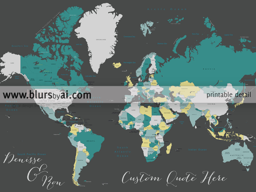 Custom quote world map with countries us states canadian custom quote world map with countries us states canadian provinces oceans gumiabroncs Image collections