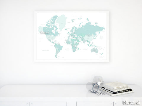 Light teal printable world map with countries and states labelled, large 30x20""
