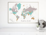 Personalized map print: world map with countries & states in gray, camel and teal.