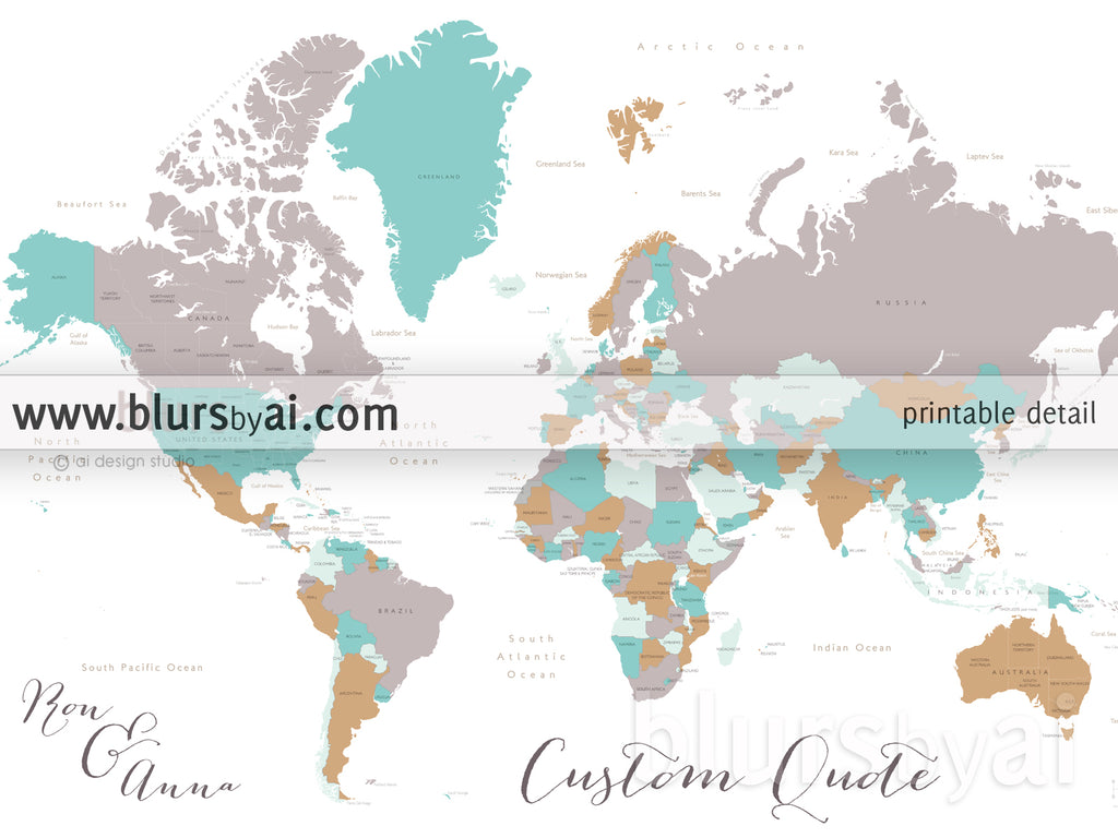 Personalized map print world map with countries states in gray personalized map print world map with countries states in gray camel and teal gumiabroncs Image collections