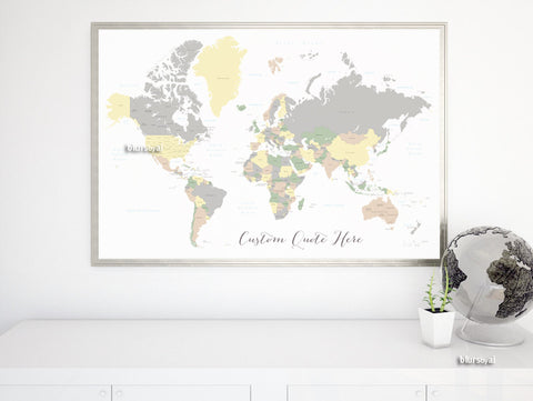 Custom quote - world map, with countries, US States, Canadian provinces, Oceans... labeled. Color combo: prairie in winter.